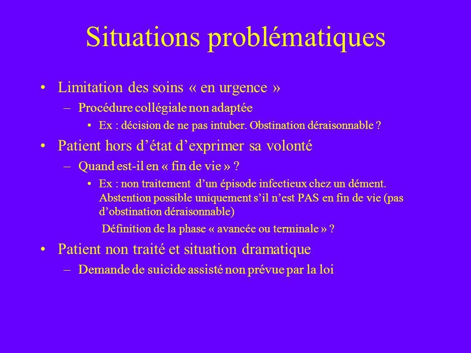 Situations problématiques Limitation des soins « en urgence » –Procédure collégiale non adaptée Ex : décision de ne pas intuber. Obstination déraisonn