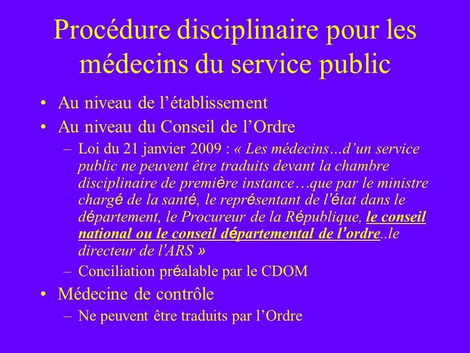 Procédure disciplinaire pour les médecins du service public Au niveau de létablissement Au niveau du Conseil de lOrdre –Loi du 21 janvier 2009 : « Les