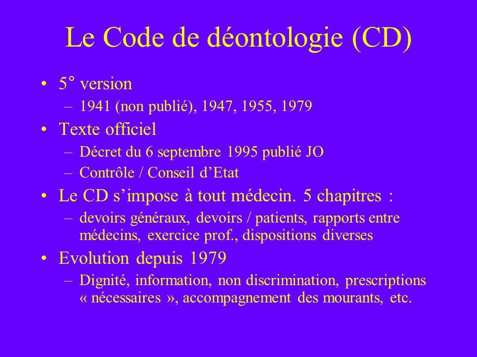 Le Code de déontologie (CD) 5° version –1941 (non publié), 1947, 1955, 1979 Texte officiel –Décret du 6 septembre 1995 publié JO –Contrôle / Conseil d