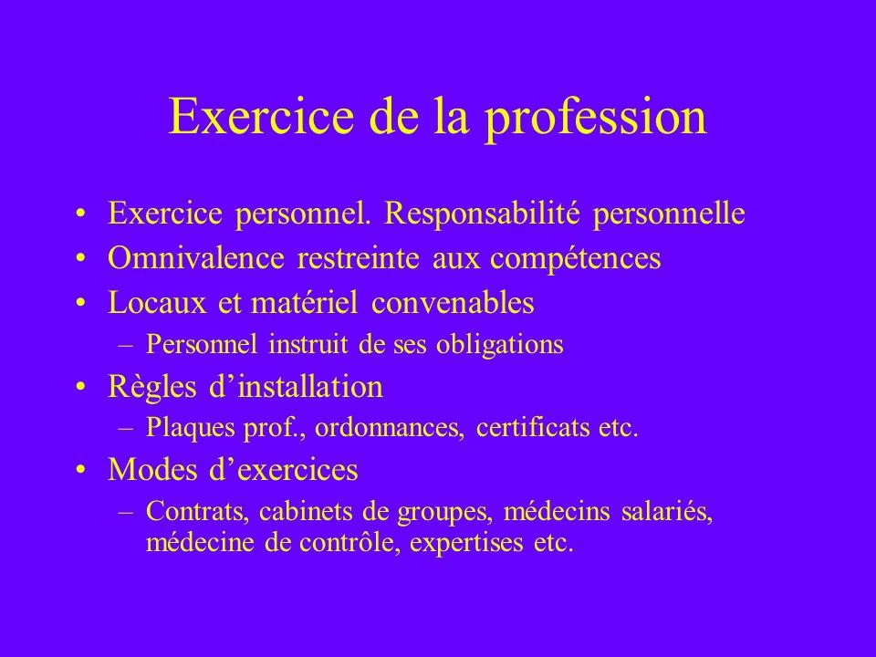 Exercice de la profession Exercice personnel. Responsabilité personnelle Omnivalence restreinte aux compétences Locaux et matériel convenables –Person