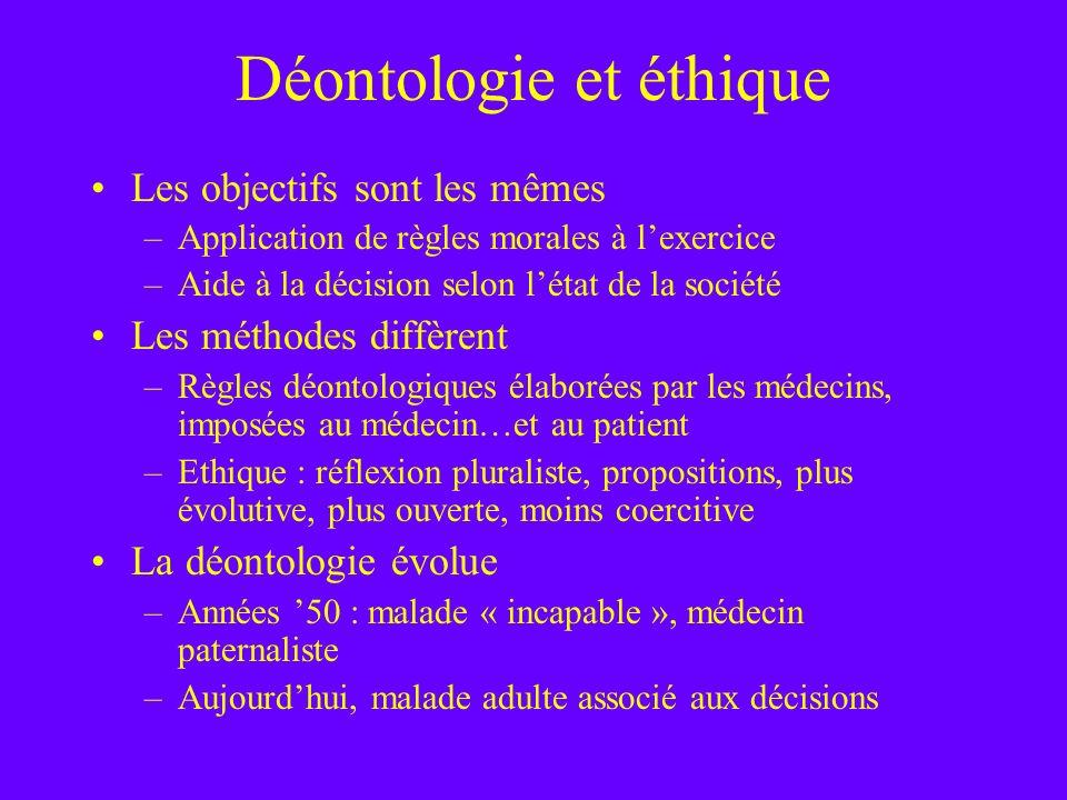 Déontologie et éthique Les objectifs sont les mêmes –Application de règles morales à lexercice –Aide à la décision selon létat de la société Les métho