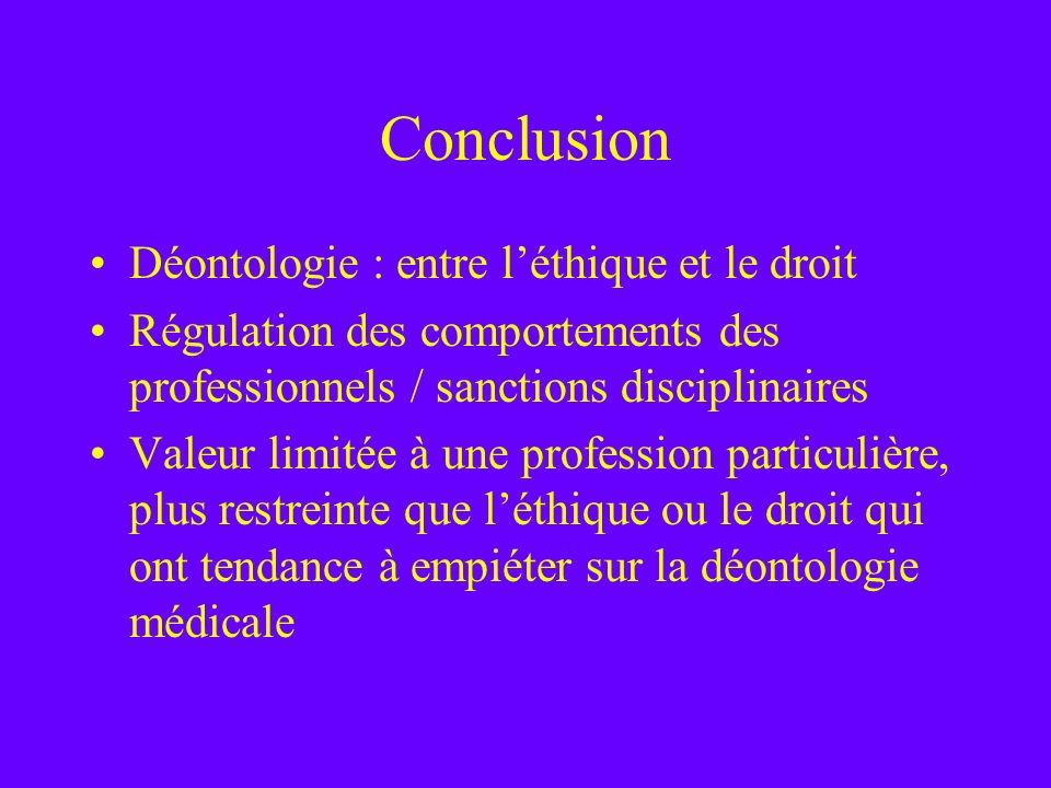 Conclusion Déontologie : entre léthique et le droit Régulation des comportements des professionnels / sanctions disciplinaires Valeur limitée à une pr