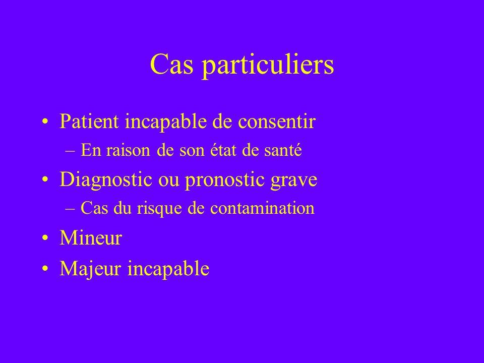 Cas particuliers Patient incapable de consentir –En raison de son état de santé Diagnostic ou pronostic grave –Cas du risque de contamination Mineur M