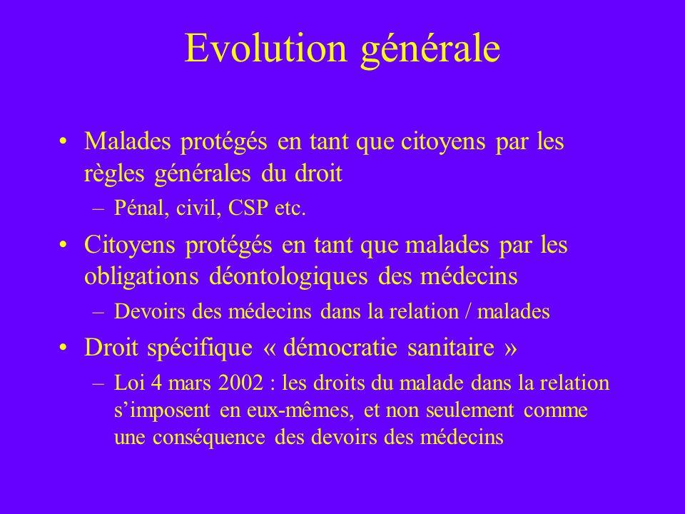 Evolution générale Malades protégés en tant que citoyens par les règles générales du droit –Pénal, civil, CSP etc. Citoyens protégés en tant que malad