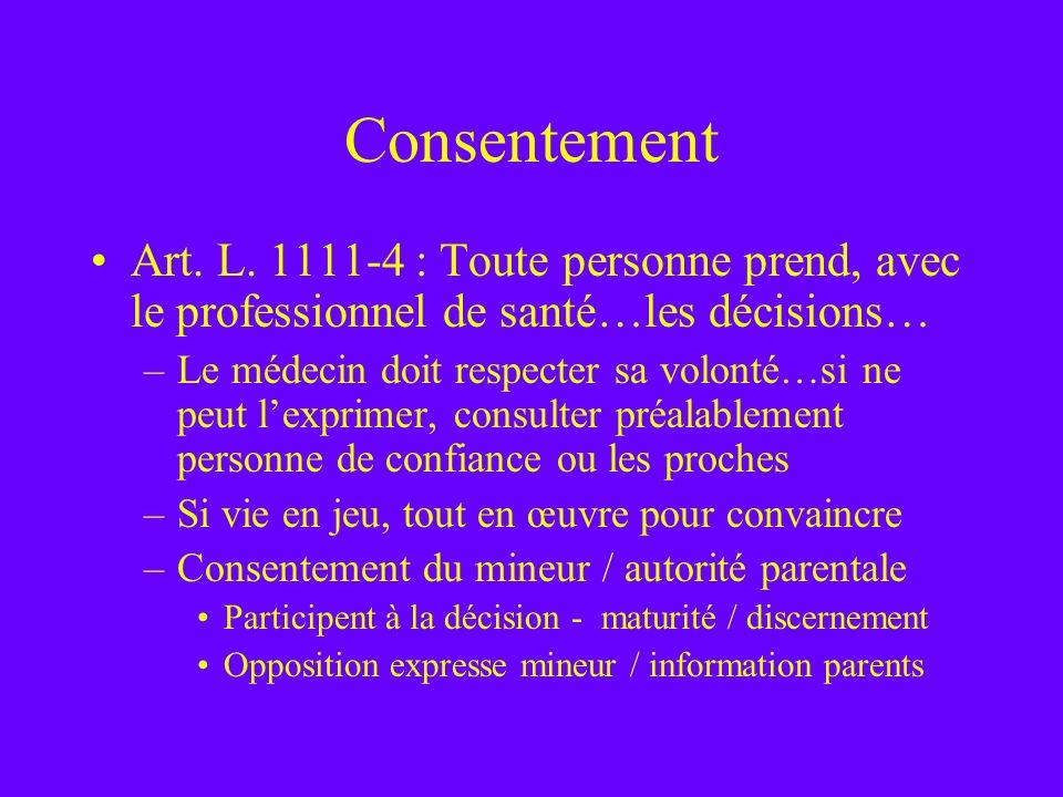 Consentement Art. L. 1111-4 : Toute personne prend, avec le professionnel de santé…les décisions… –Le médecin doit respecter sa volonté…si ne peut lex