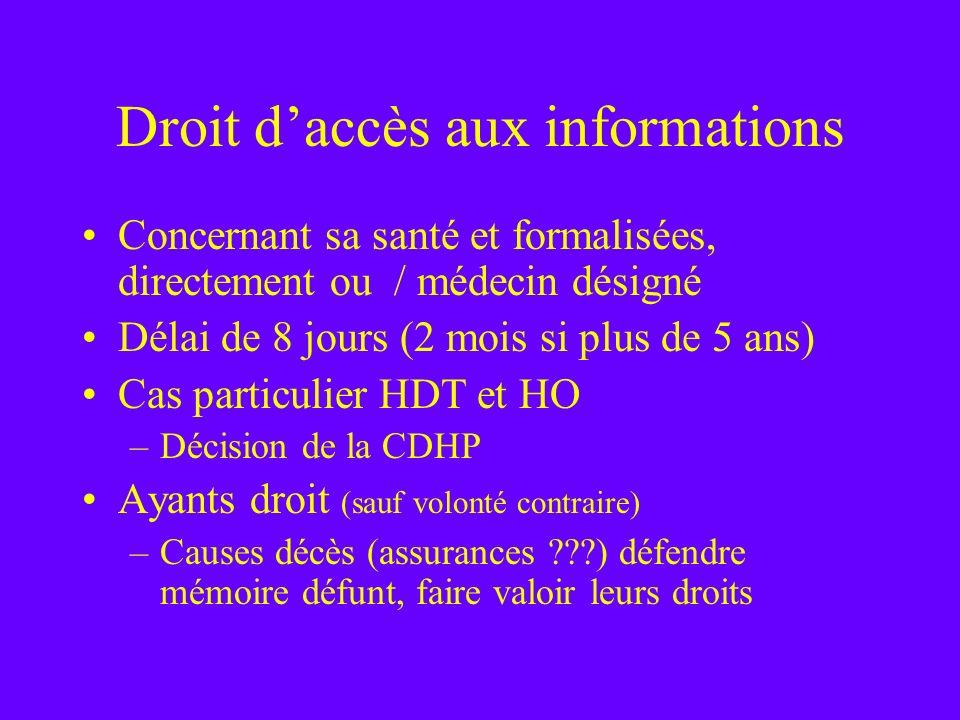 Droit daccès aux informations Concernant sa santé et formalisées, directement ou / médecin désigné Délai de 8 jours (2 mois si plus de 5 ans) Cas part