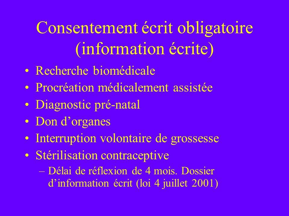 Consentement écrit obligatoire (information écrite) Recherche biomédicale Procréation médicalement assistée Diagnostic pré-natal Don dorganes Interrup