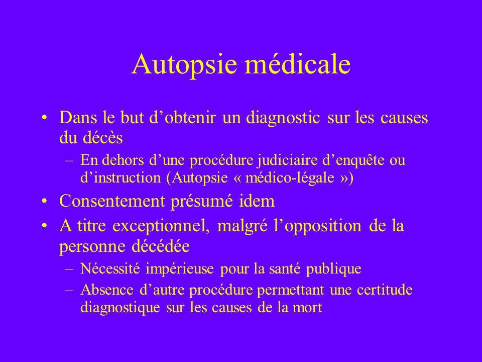 Autopsie médicale Dans le but dobtenir un diagnostic sur les causes du décès –En dehors dune procédure judiciaire denquête ou dinstruction (Autopsie «