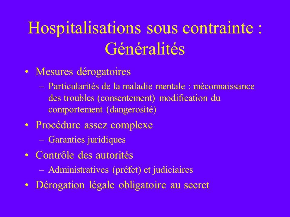 Hospitalisations sous contrainte : Généralités Mesures dérogatoires –Particularités de la maladie mentale : méconnaissance des troubles (consentement)