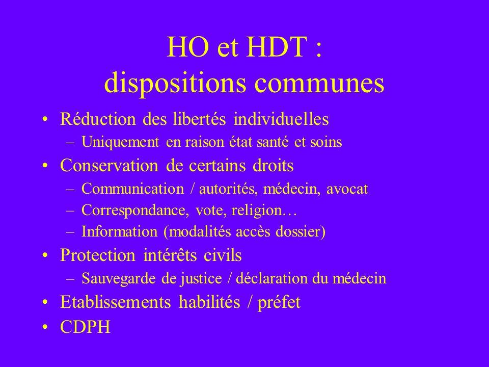 HO et HDT : dispositions communes Réduction des libertés individuelles –Uniquement en raison état santé et soins Conservation de certains droits –Comm