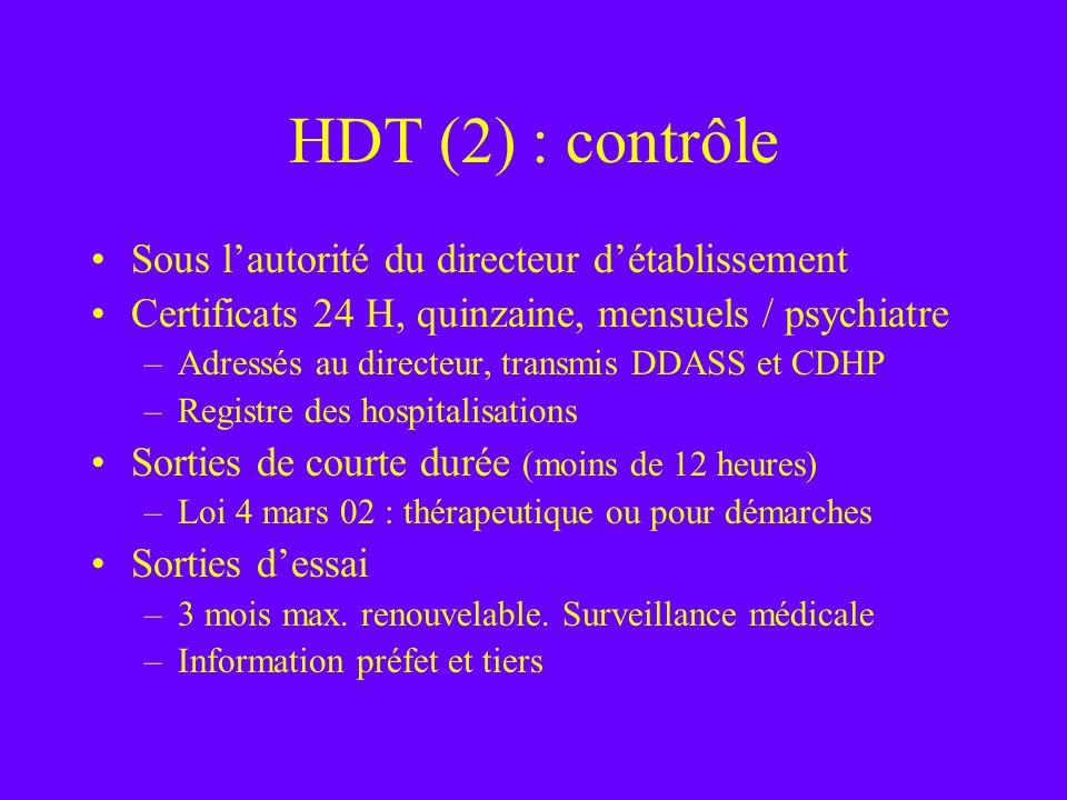 HDT (2) : contrôle Sous lautorité du directeur détablissement Certificats 24 H, quinzaine, mensuels / psychiatre –Adressés au directeur, transmis DDAS