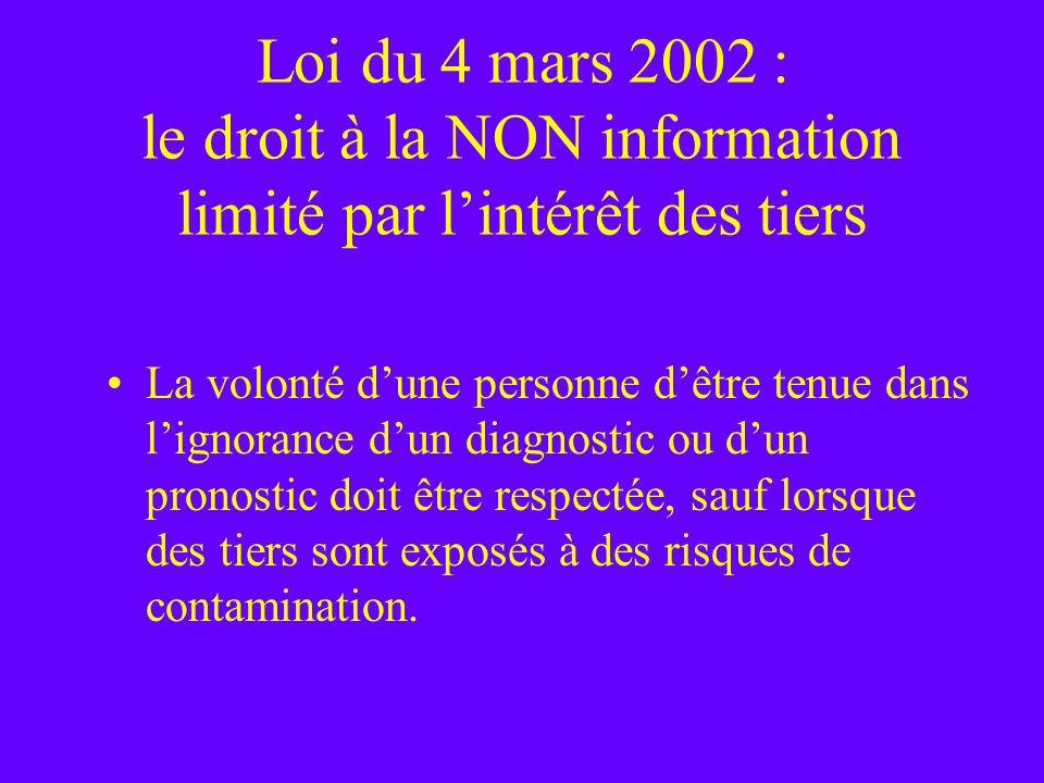 Loi du 4 mars 2002 : le droit à la NON information limité par lintérêt des tiers La volonté dune personne dêtre tenue dans lignorance dun diagnostic o