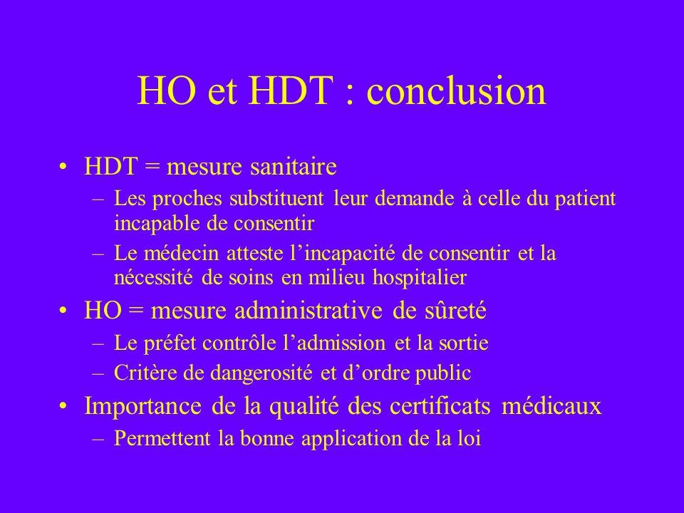 HO et HDT : conclusion HDT = mesure sanitaire –Les proches substituent leur demande à celle du patient incapable de consentir –Le médecin atteste linc