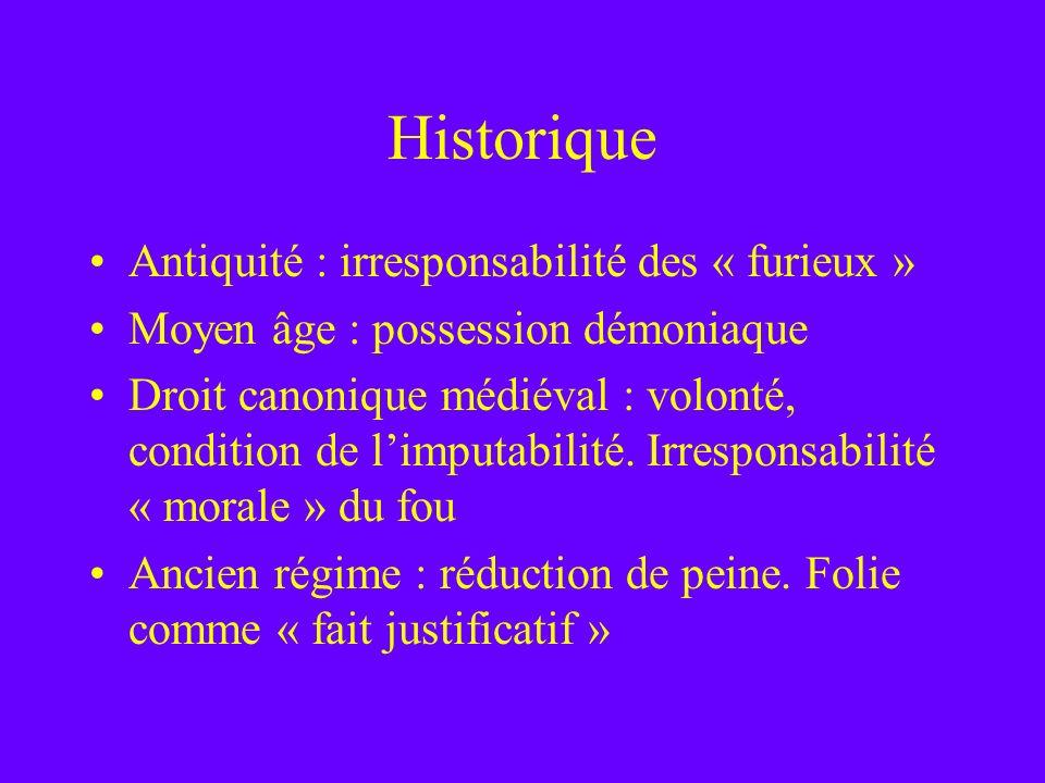 Historique Antiquité : irresponsabilité des « furieux » Moyen âge : possession démoniaque Droit canonique médiéval : volonté, condition de limputabili