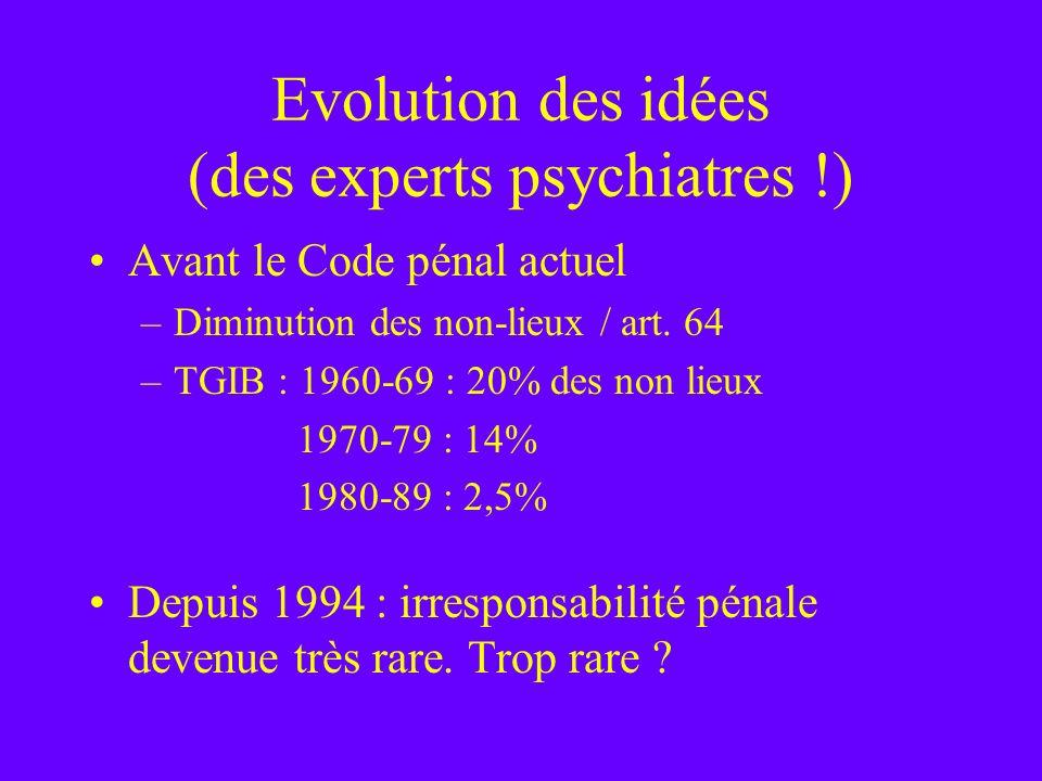 Evolution des idées (des experts psychiatres !) Avant le Code pénal actuel –Diminution des non-lieux / art. 64 –TGIB : 1960-69 : 20% des non lieux 197