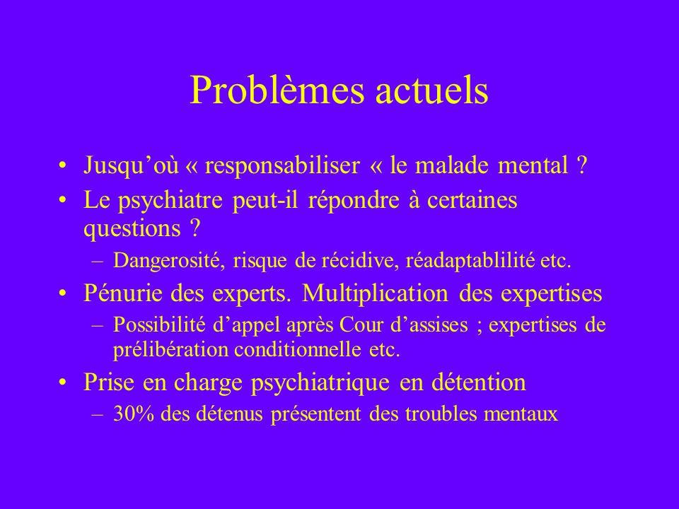 Problèmes actuels Jusquoù « responsabiliser « le malade mental ? Le psychiatre peut-il répondre à certaines questions ? –Dangerosité, risque de récidi