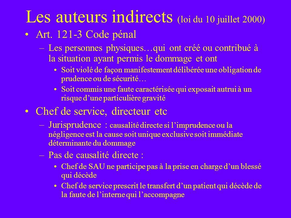 Les auteurs indirects (loi du 10 juillet 2000) Art. 121-3 Code pénal –Les personnes physiques…qui ont créé ou contribué à la situation ayant permis le