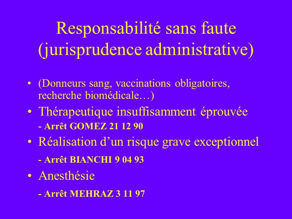 Responsabilité sans faute (jurisprudence administrative) (Donneurs sang, vaccinations obligatoires, recherche biomédicale…) Thérapeutique insuffisamme