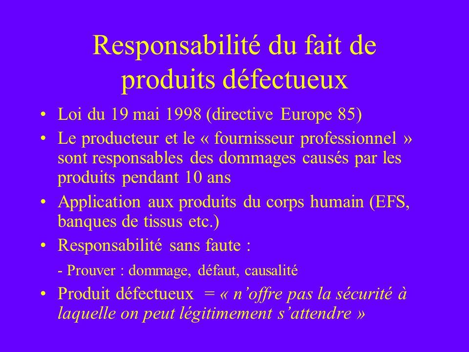 Responsabilité du fait de produits défectueux Loi du 19 mai 1998 (directive Europe 85) Le producteur et le « fournisseur professionnel » sont responsa
