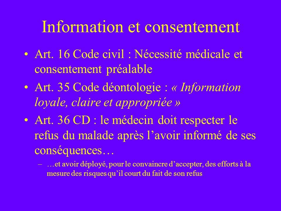 Information et consentement Art. 16 Code civil : Nécessité médicale et consentement préalable Art. 35 Code déontologie : « Information loyale, claire