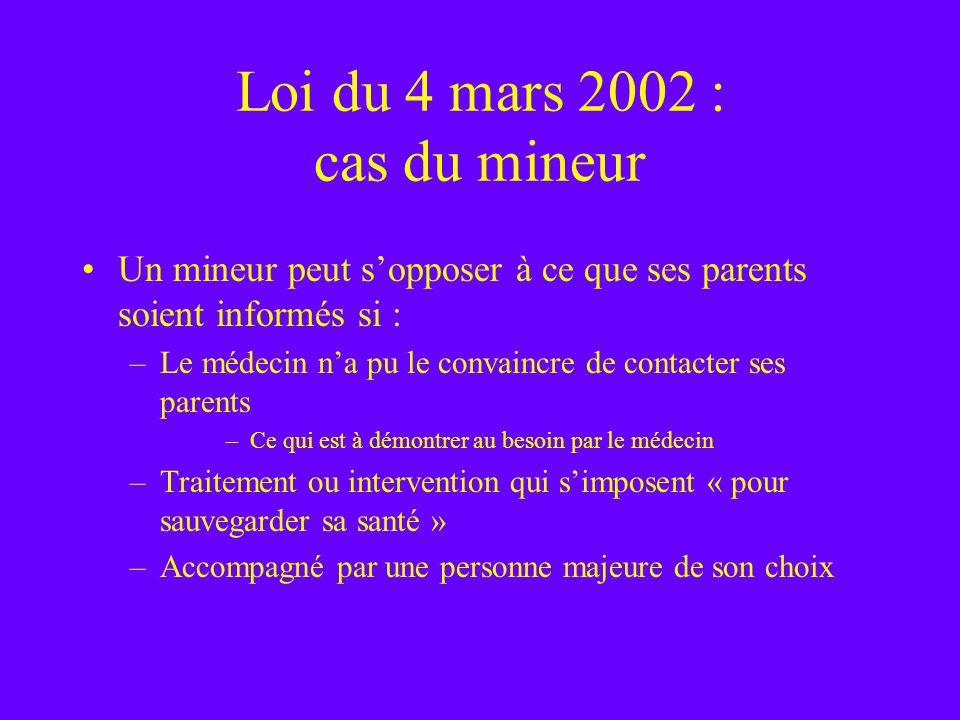 Loi du 4 mars 2002 : cas du mineur Un mineur peut sopposer à ce que ses parents soient informés si : –Le médecin na pu le convaincre de contacter ses