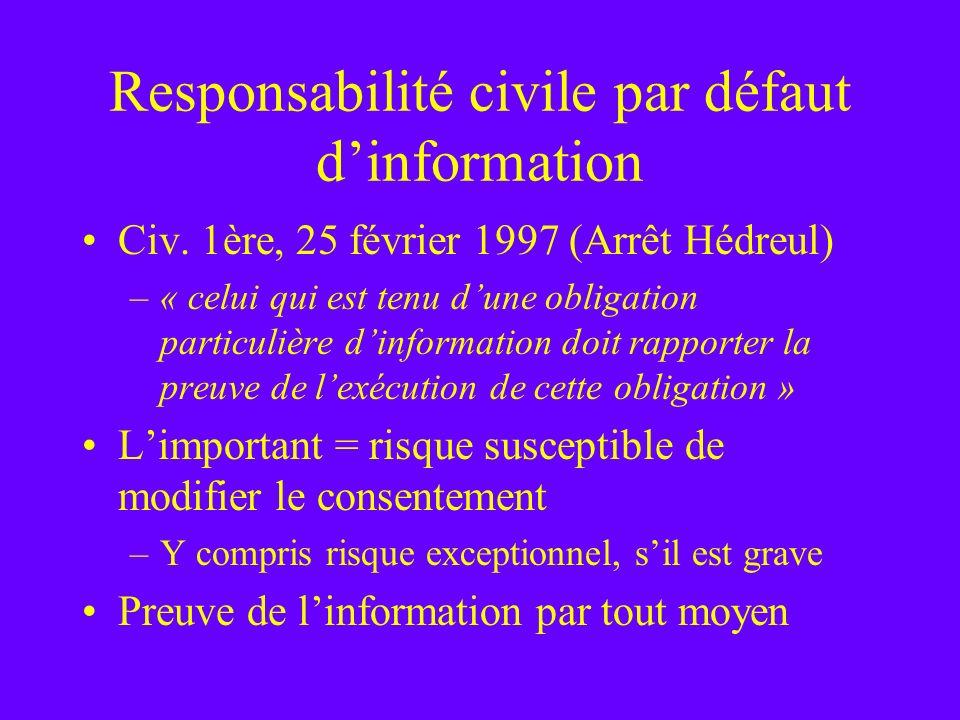 Responsabilité civile par défaut dinformation Civ. 1ère, 25 février 1997 (Arrêt Hédreul) –« celui qui est tenu dune obligation particulière dinformati