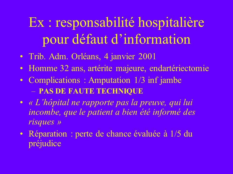 Ex : responsabilité hospitalière pour défaut dinformation Trib. Adm. Orléans, 4 janvier 2001 Homme 32 ans, artérite majeure, endartériectomie Complica