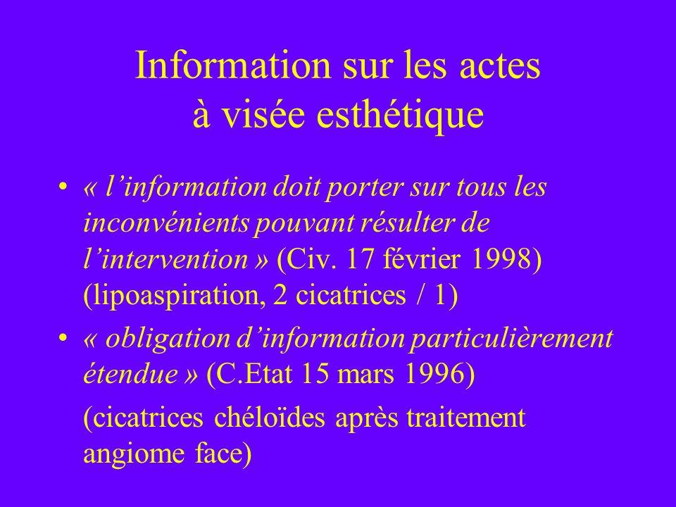 Information sur les actes à visée esthétique « linformation doit porter sur tous les inconvénients pouvant résulter de lintervention » (Civ. 17 févrie