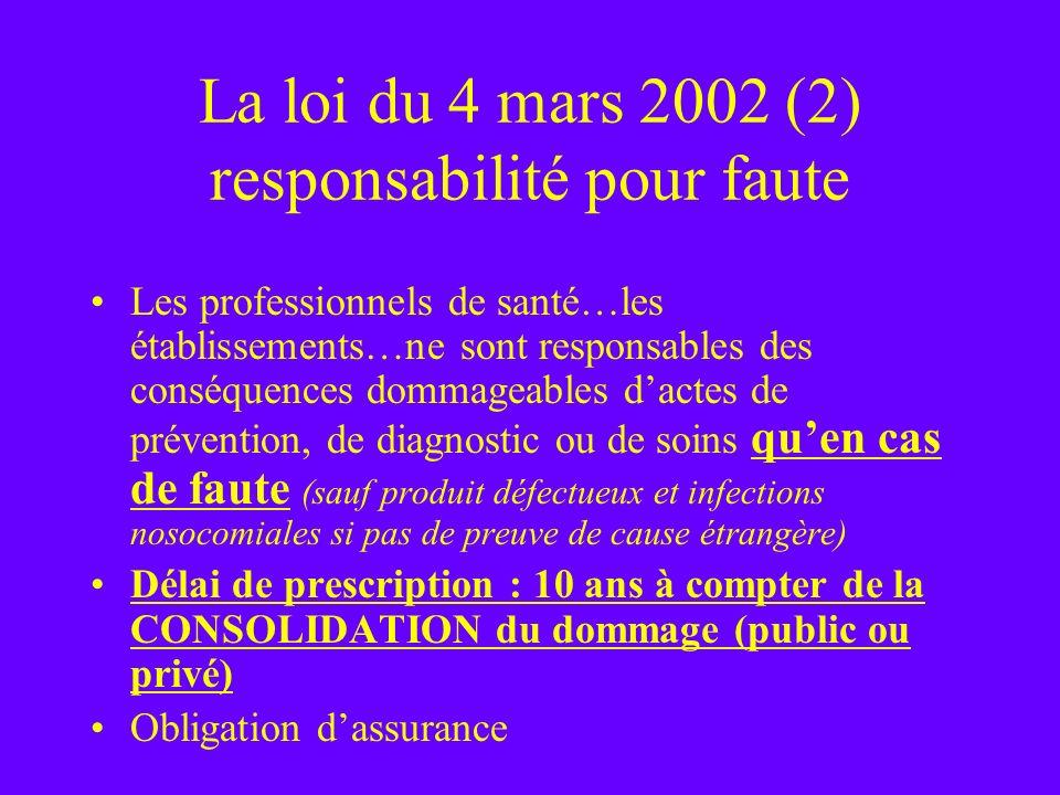 La loi du 4 mars 2002 (2) responsabilité pour faute Les professionnels de santé…les établissements…ne sont responsables des conséquences dommageables