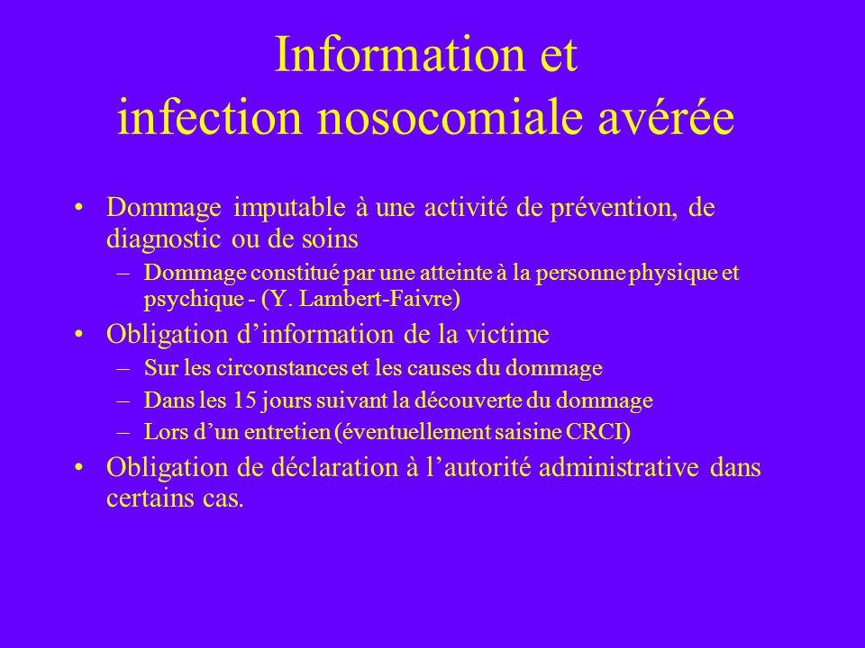 Information et infection nosocomiale avérée Dommage imputable à une activité de prévention, de diagnostic ou de soins –Dommage constitué par une attei