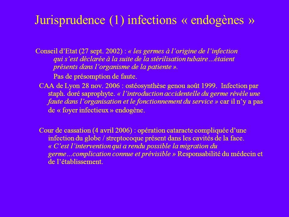 Jurisprudence (1) infections « endogènes » Conseil dEtat (27 sept. 2002) : « les germes à lorigine de linfection qui sest déclarée à la suite de la st