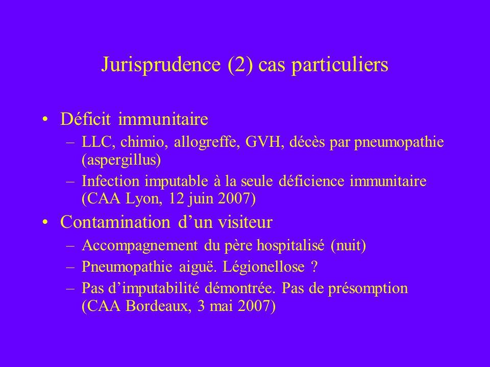 Jurisprudence (2) cas particuliers Déficit immunitaire –LLC, chimio, allogreffe, GVH, décès par pneumopathie (aspergillus) –Infection imputable à la s