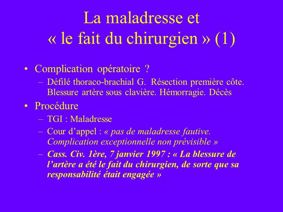 La maladresse et « le fait du chirurgien » (1) Complication opératoire ? –Défilé thoraco-brachial G. Résection première côte. Blessure artère sous cla