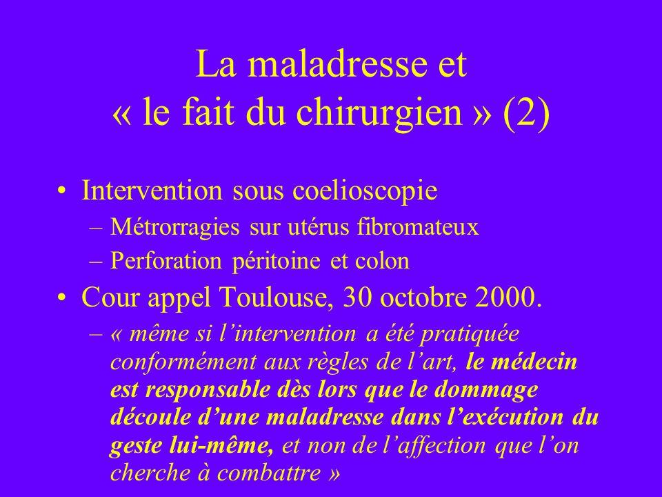La maladresse et « le fait du chirurgien » (2) Intervention sous coelioscopie –Métrorragies sur utérus fibromateux –Perforation péritoine et colon Cou