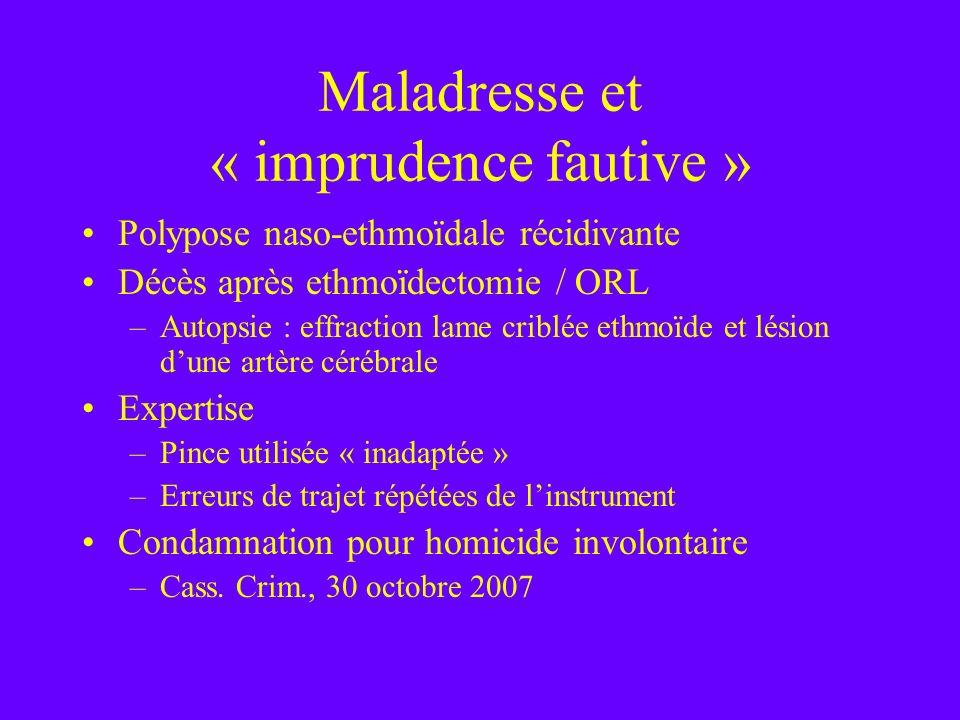 Maladresse et « imprudence fautive » Polypose naso-ethmoïdale récidivante Décès après ethmoïdectomie / ORL –Autopsie : effraction lame criblée ethmoïd