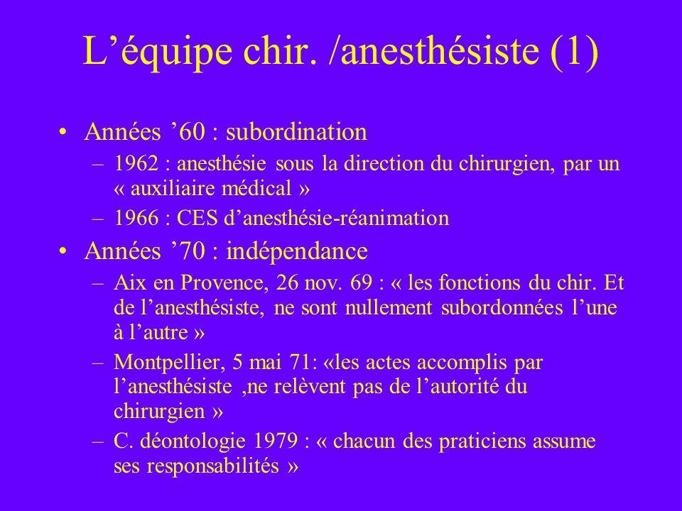 Léquipe chir. /anesthésiste (1) Années 60 : subordination –1962 : anesthésie sous la direction du chirurgien, par un « auxiliaire médical » –1966 : CE