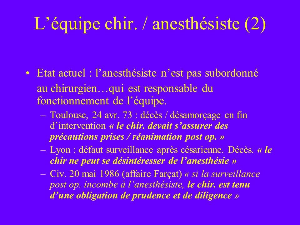 Léquipe chir. / anesthésiste (2) Etat actuel : lanesthésiste nest pas subordonné au chirurgien…qui est responsable du fonctionnement de léquipe. –Toul
