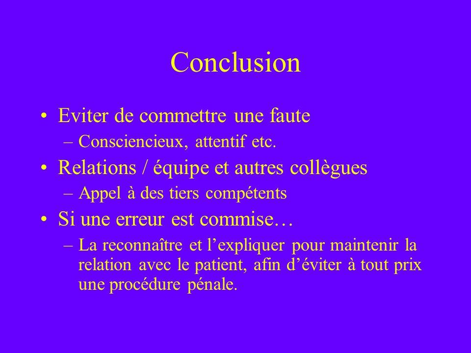 Conclusion Eviter de commettre une faute –Consciencieux, attentif etc. Relations / équipe et autres collègues –Appel à des tiers compétents Si une err