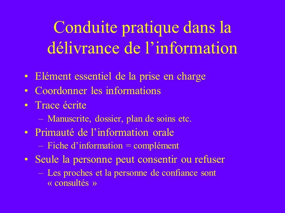 Conduite pratique dans la délivrance de linformation Elément essentiel de la prise en charge Coordonner les informations Trace écrite –Manuscrite, dos