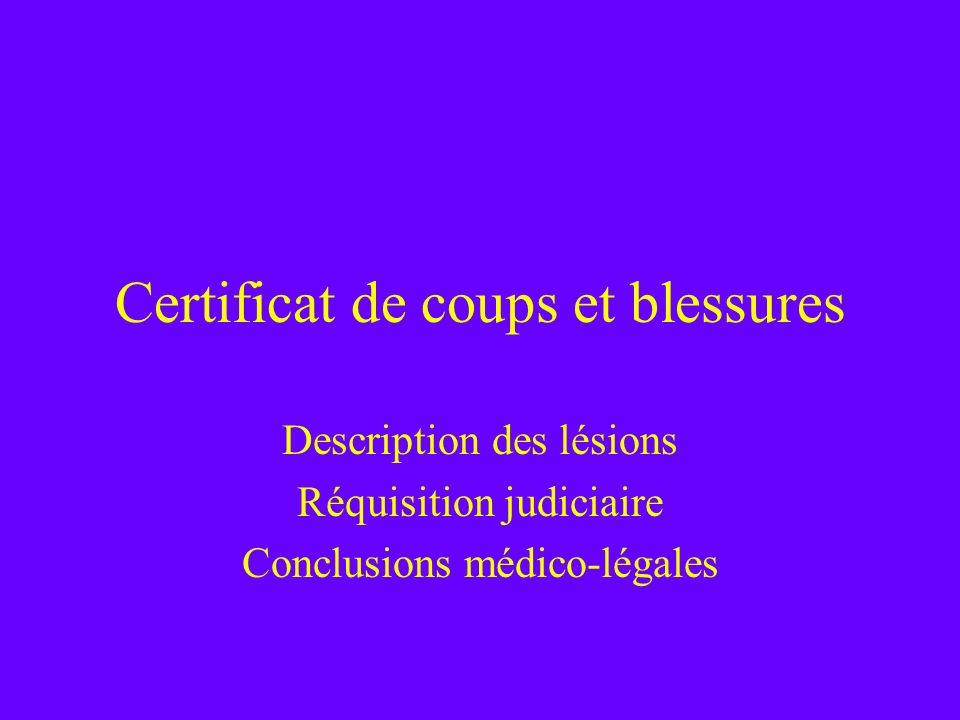 Certificat de coups et blessures Description des lésions Réquisition judiciaire Conclusions médico-légales