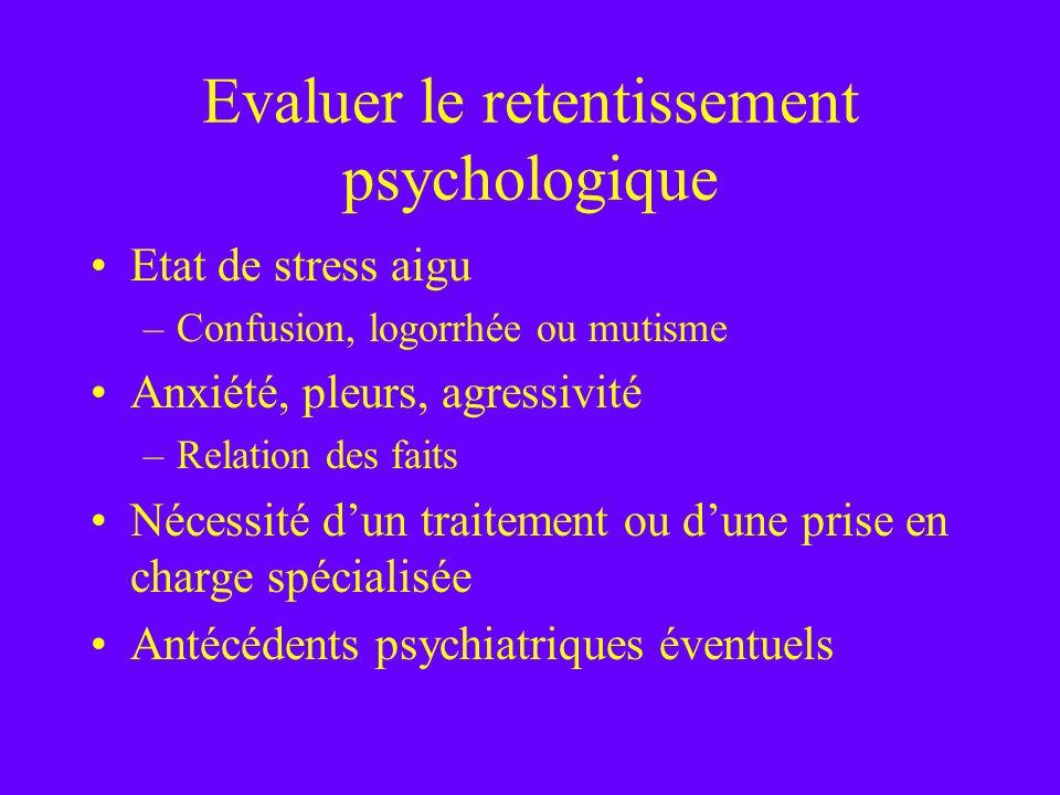 Evaluer le retentissement psychologique Etat de stress aigu –Confusion, logorrhée ou mutisme Anxiété, pleurs, agressivité –Relation des faits Nécessit