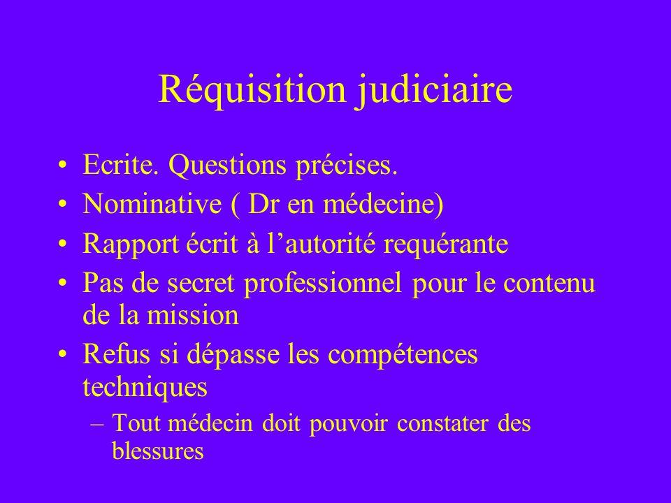 Réquisition judiciaire Ecrite. Questions précises. Nominative ( Dr en médecine) Rapport écrit à lautorité requérante Pas de secret professionnel pour
