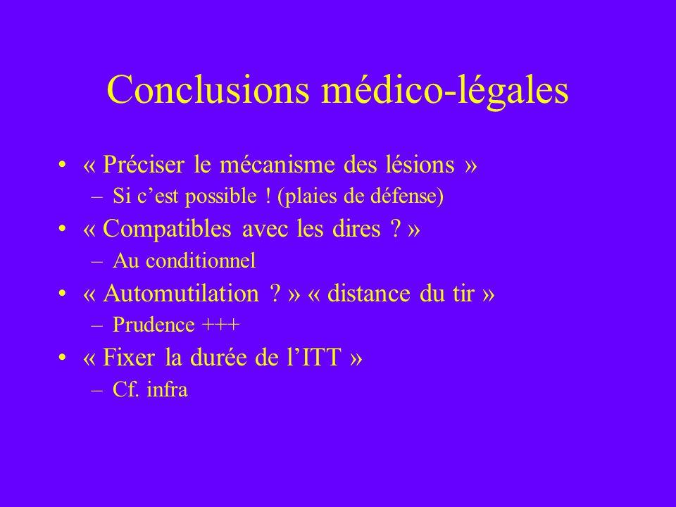 Conclusions médico-légales « Préciser le mécanisme des lésions » –Si cest possible ! (plaies de défense) « Compatibles avec les dires ? » –Au conditio