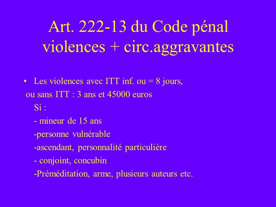 Art. 222-13 du Code pénal violences + circ.aggravantes Les violences avec ITT inf. ou = 8 jours, ou sans ITT : 3 ans et 45000 euros Si : - mineur de 1