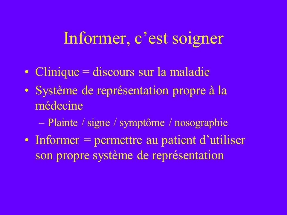 Informer, cest soigner Clinique = discours sur la maladie Système de représentation propre à la médecine –Plainte / signe / symptôme / nosographie Inf