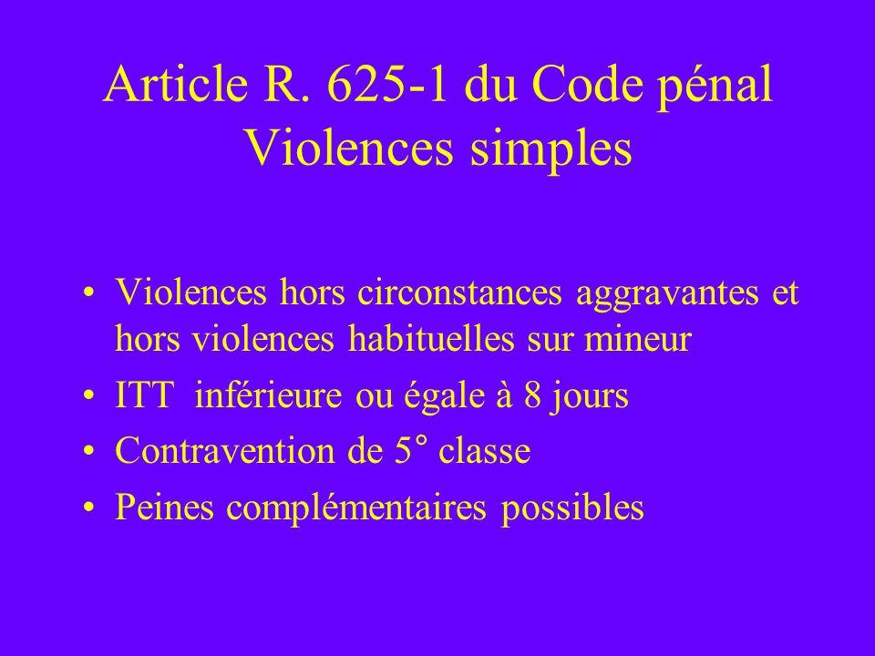 Article R. 625-1 du Code pénal Violences simples Violences hors circonstances aggravantes et hors violences habituelles sur mineur ITT inférieure ou é