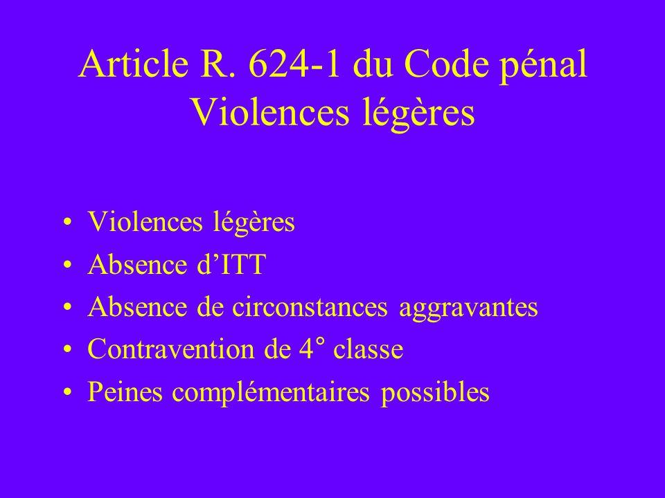 Article R. 624-1 du Code pénal Violences légères Violences légères Absence dITT Absence de circonstances aggravantes Contravention de 4° classe Peines