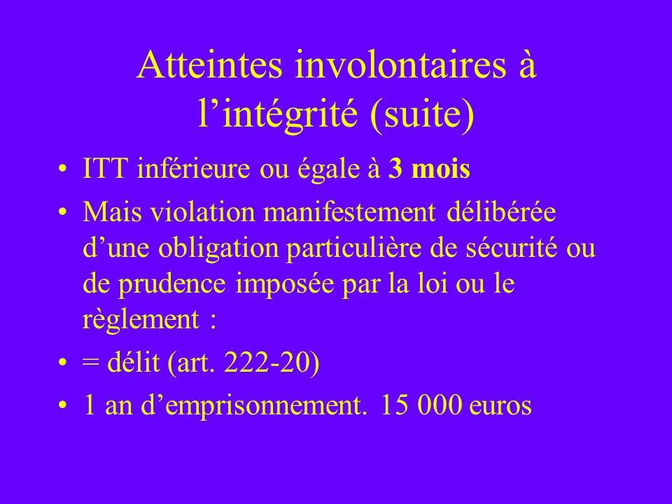 Atteintes involontaires à lintégrité (suite) ITT inférieure ou égale à 3 mois Mais violation manifestement délibérée dune obligation particulière de s