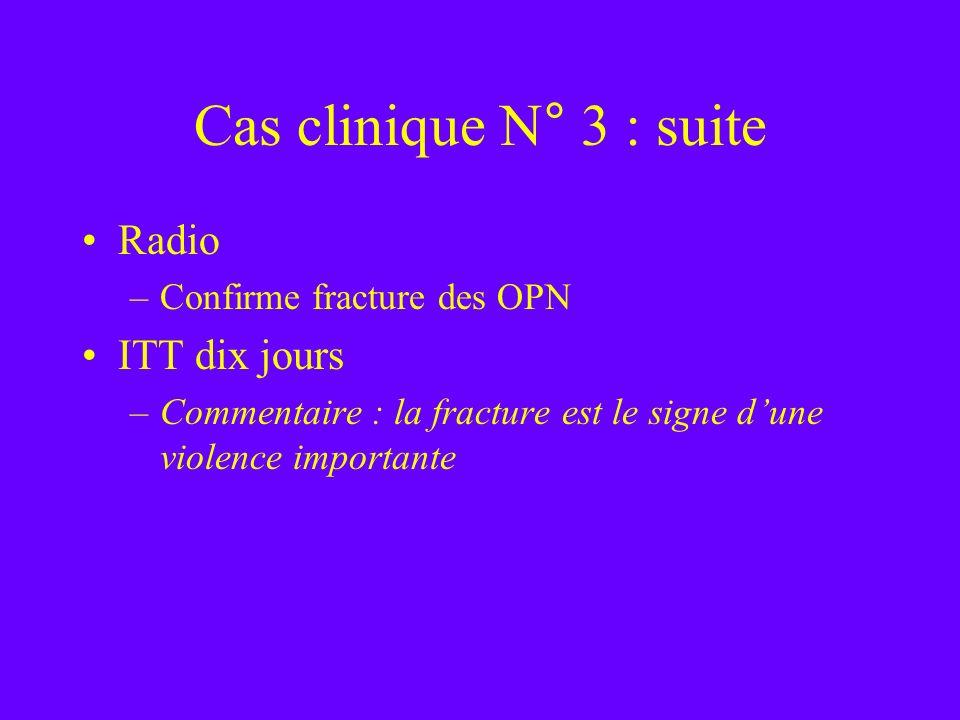 Cas clinique N° 3 : suite Radio –Confirme fracture des OPN ITT dix jours –Commentaire : la fracture est le signe dune violence importante