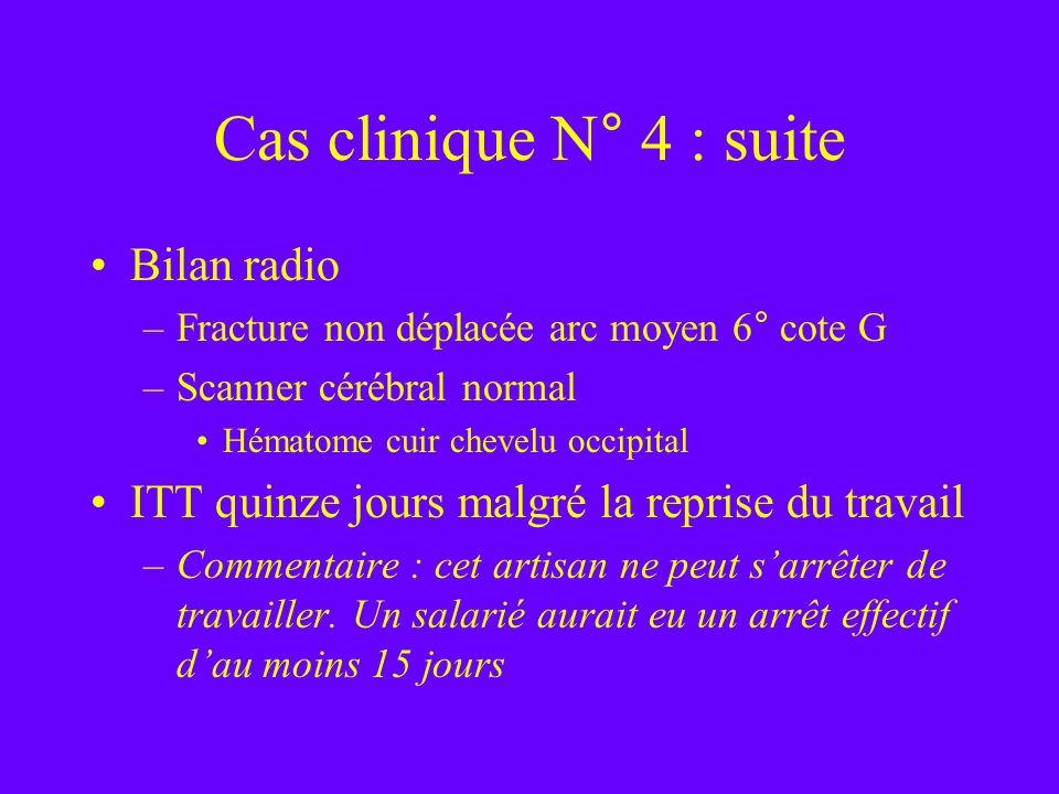 Cas clinique N° 4 : suite Bilan radio –Fracture non déplacée arc moyen 6° cote G –Scanner cérébral normal Hématome cuir chevelu occipital ITT quinze j